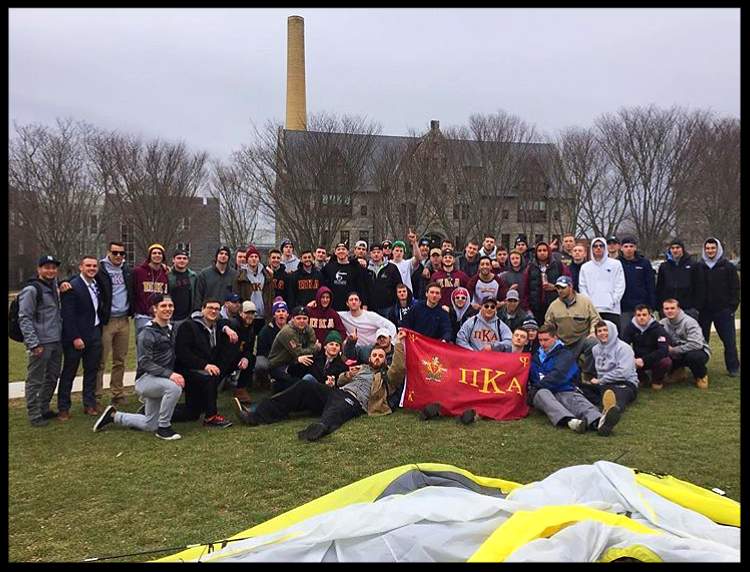 Brothers camped out on the quad for a full 24 hours and donated goods to the local homeless shelter in Providence.