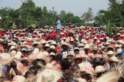 Des milliers de paysans haïtiens ont participé à une manifestation pour protester contre le gouvernement, à qui ils reprochent de distribuer des semences de la firme multinationale Monsanto. AFP - Des milliers de paysans haïtiens ont participé à une manif