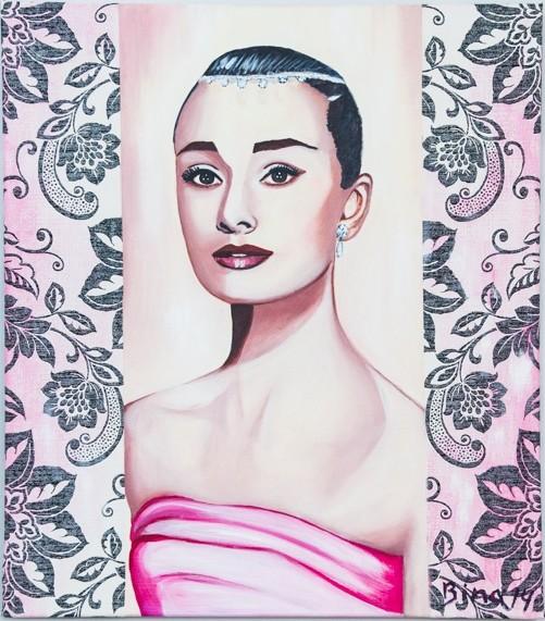Audrey Hepburn  80x70 cm  Acryl/Ornamente auf Leinwand