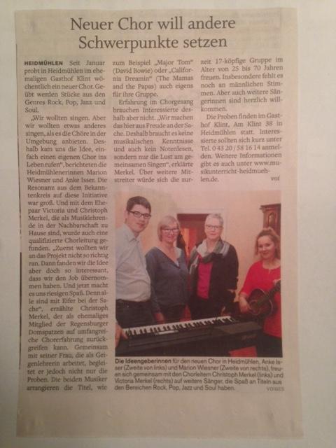 Der Chor im Holstein Courier Neumünster