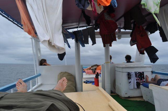 die meiste Zeit aufm Boot haben wir ob auf dem Oberdeck verbracht