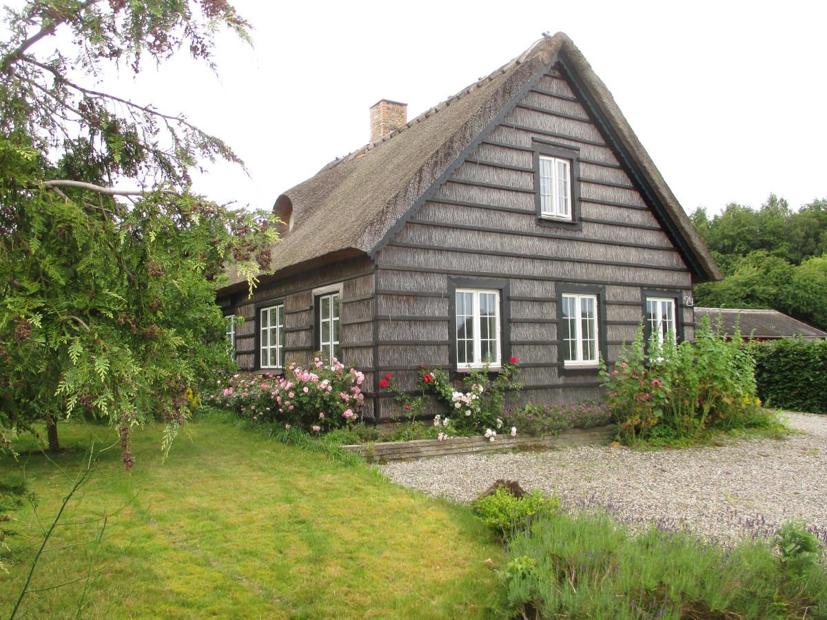 Häuser in Hesnæs mit Reet isoliert