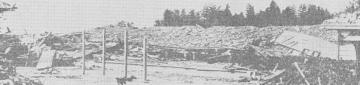 東西棟を南東方向から撮影したものと思われ、2階建ての校舎が屋根だけを残して潰れている