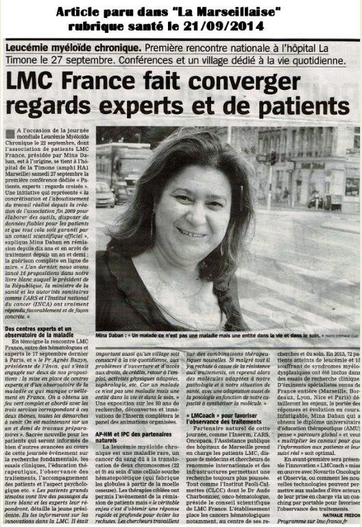 LMC FRANCE JOURNEE MONDIALE LMC ARTICLE PRESSE MINA DABAN STEPHANE