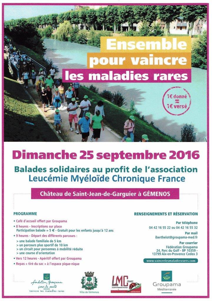 Flyer de la balade solidaire LMC France avec Fondation Groupama pour la Santé à Gémenos