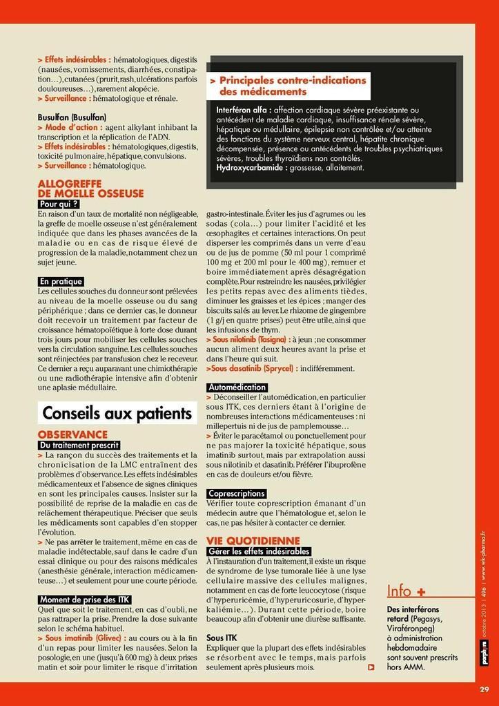 Conseils aux patients LMC