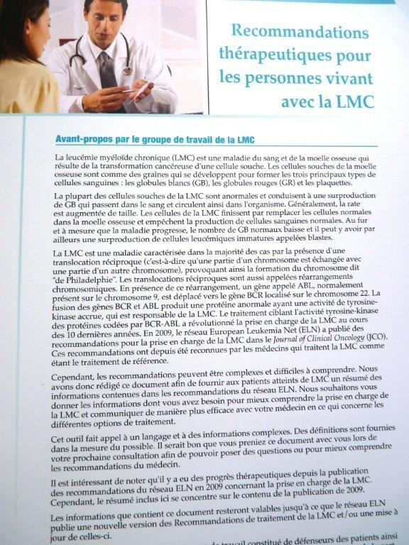 Les recommandations thérapeutiques pour les personnes vivant avec une LMC