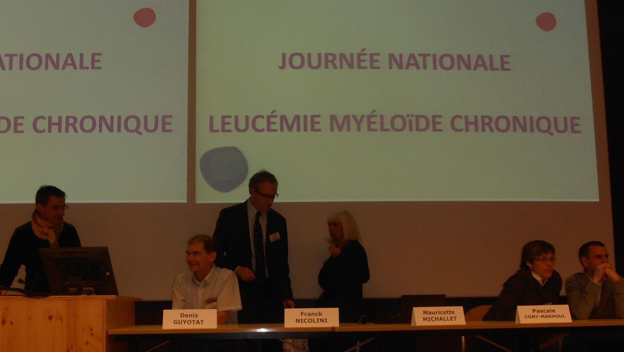 Les Dr Denis GUYOTAT et Franck NICOLINI, le Pr. Mauricette MICHALLET, les Dr Pascale CONY-MAKHOUL et Eric HERMET - Journée Patients FiLMC Lyon