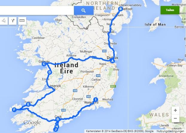 My tour de Ireland. Around 1.700 km in 3 month. The longest bus drive was 4 hours... At that time I thought that was long...