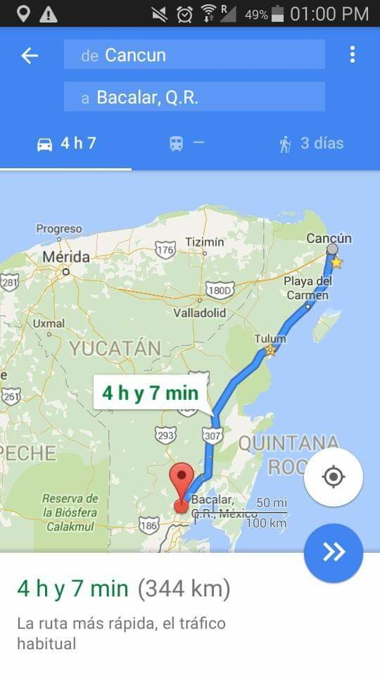 Way from Cancun to Bacalar