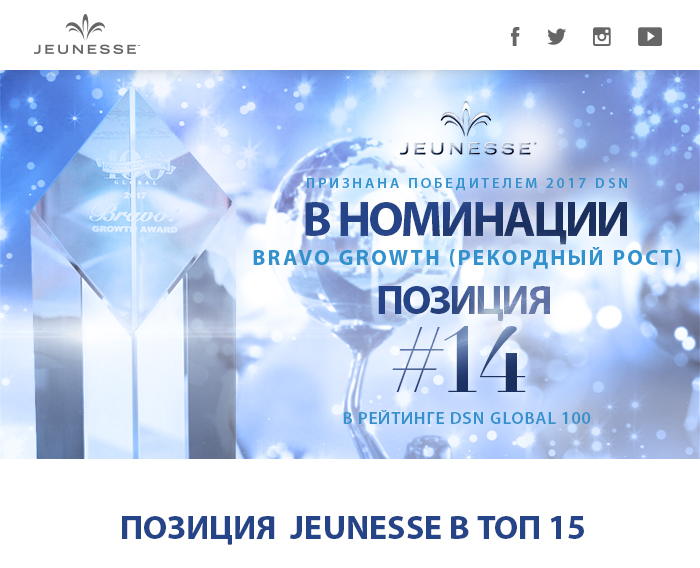 Jeunesse в ТОП 15, Рекордный рост, Победитель 2017, Награда Jeunesse, Рейтинг DSN Global 100,