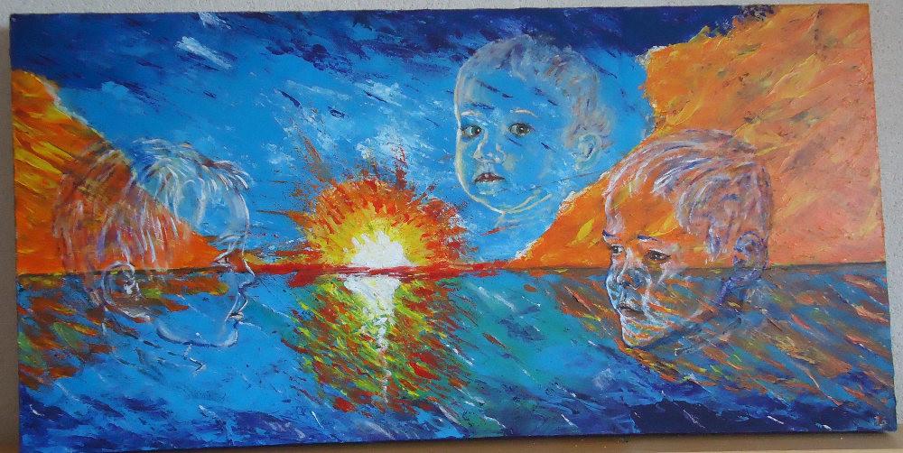 tableau 3 enfants le soir