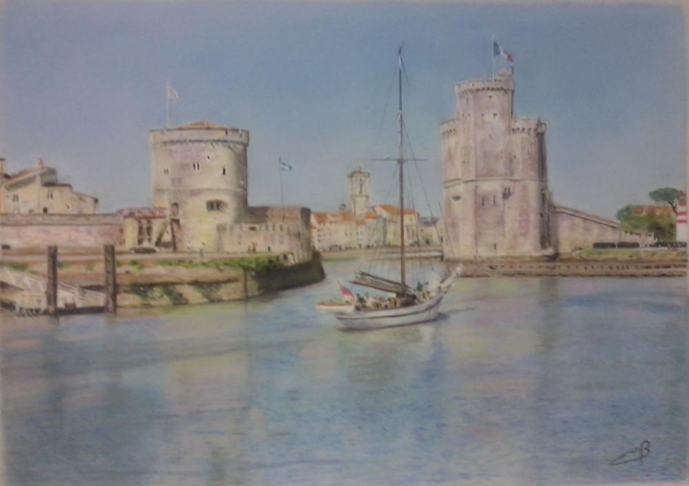 port de la Rochelle    ( pastel avant mise sous verre )
