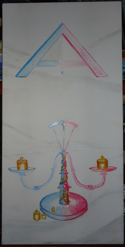 L Égalité  (triptyque avec la fraternité et la Liberté)  tableau huile et acrylique