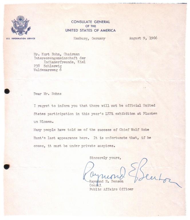 Antwortschreiben des Generalkonsulates