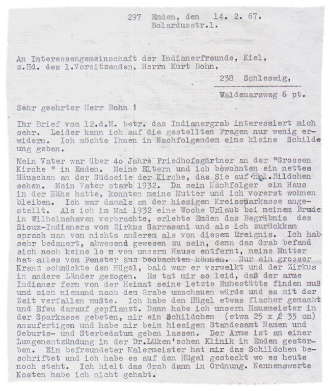 Brief von Alberta Geerds