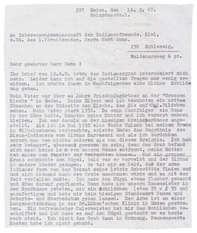 Brief von Alberta Geerds