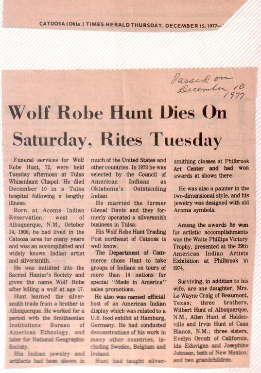 Nachruf in der Zeitung von Tulsa