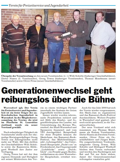 """Bericht aus der Tageszeitung """"Die Glocke"""" über den Wechsel im Vorstand des VFJ in 2009"""