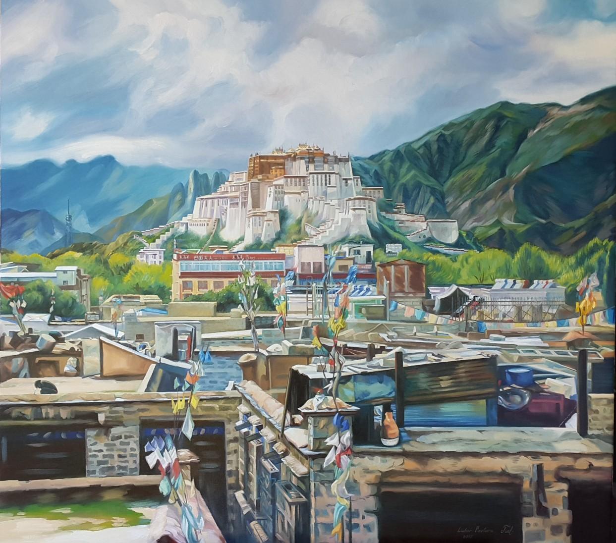 Potala-Palast, Öl auf Leinwand, 100 x 90 cm