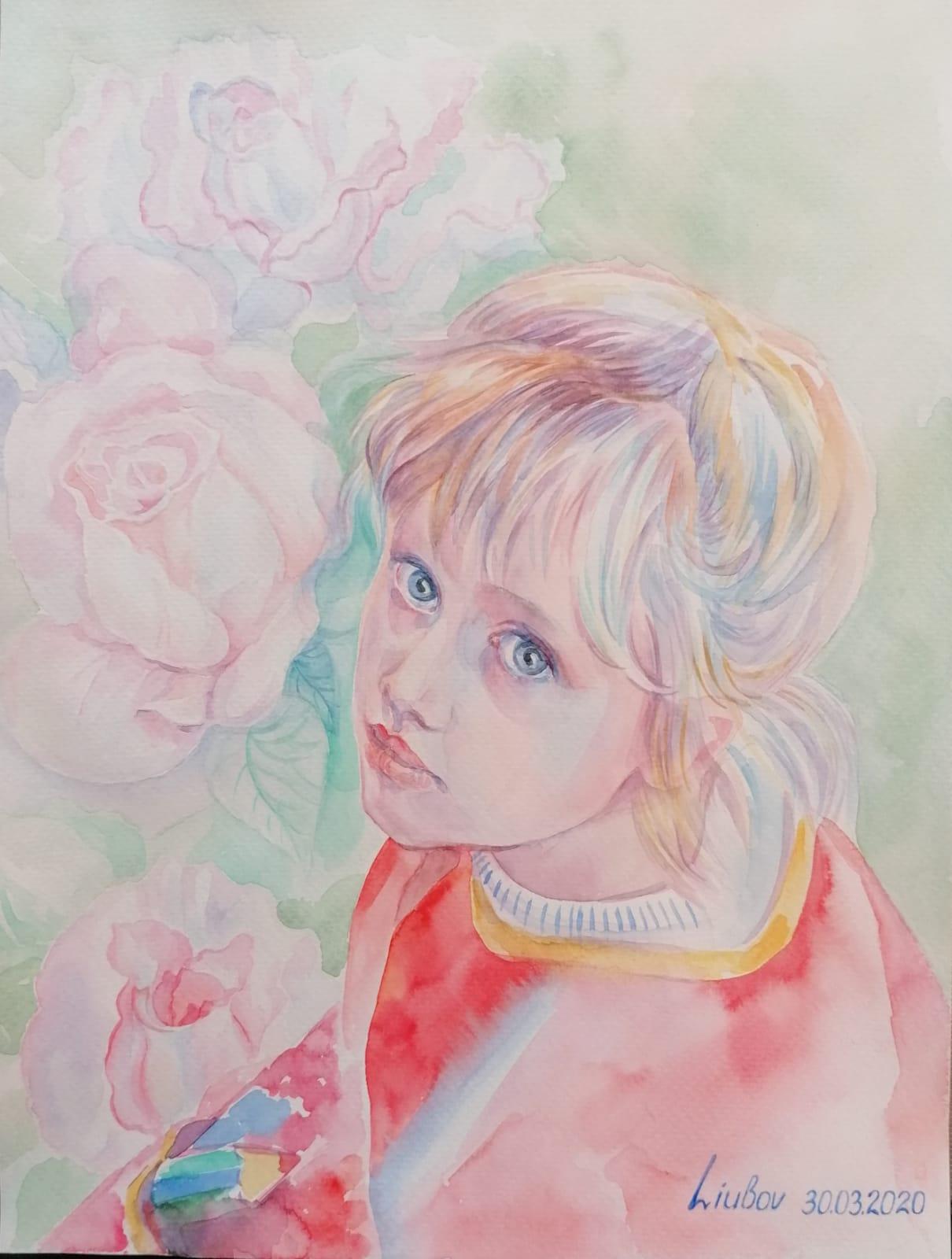 Kind der Natur, Aquarell, 24x32 cm