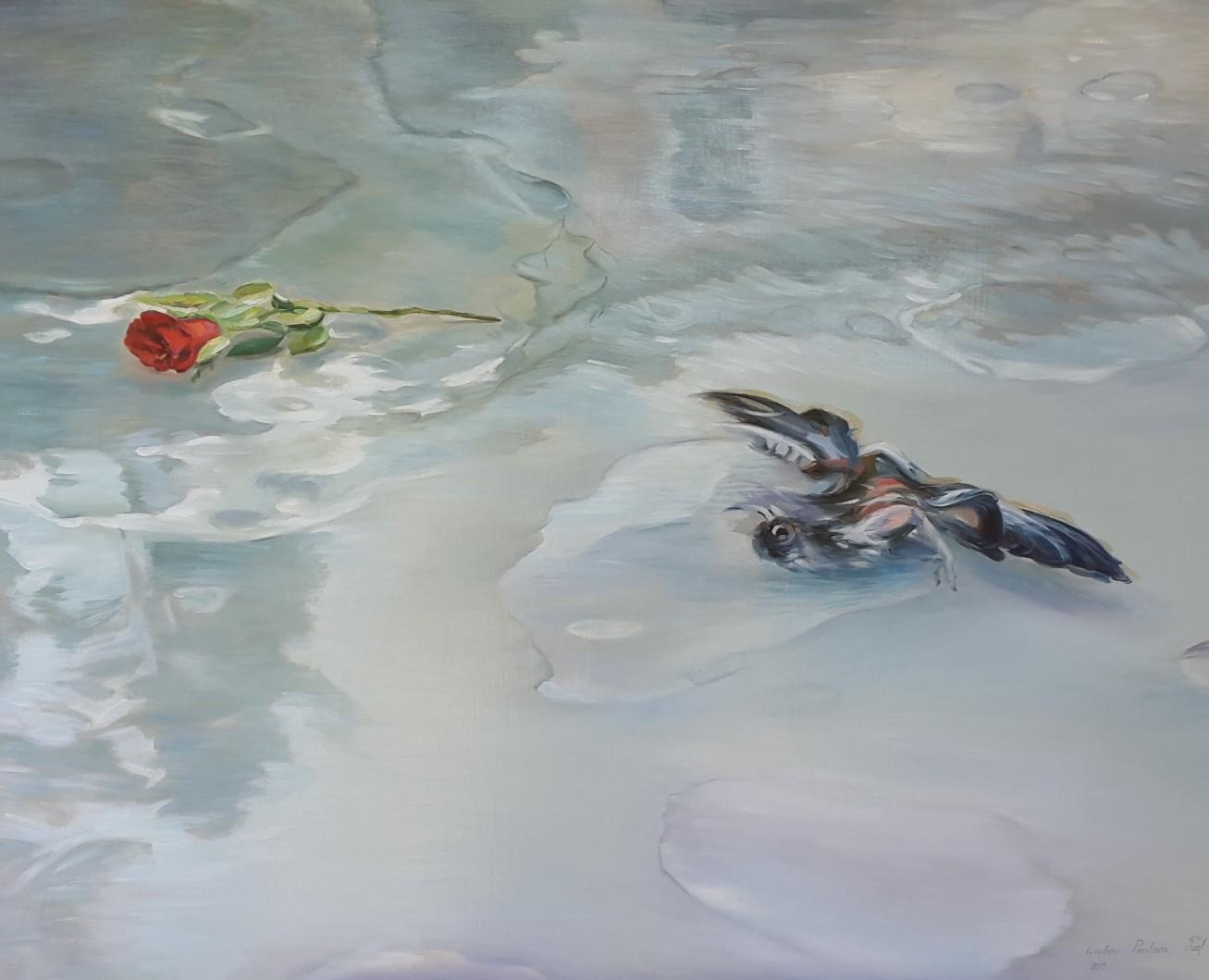 Rose und Vogel, Öl auf Leinwand, 100 x 90 cm