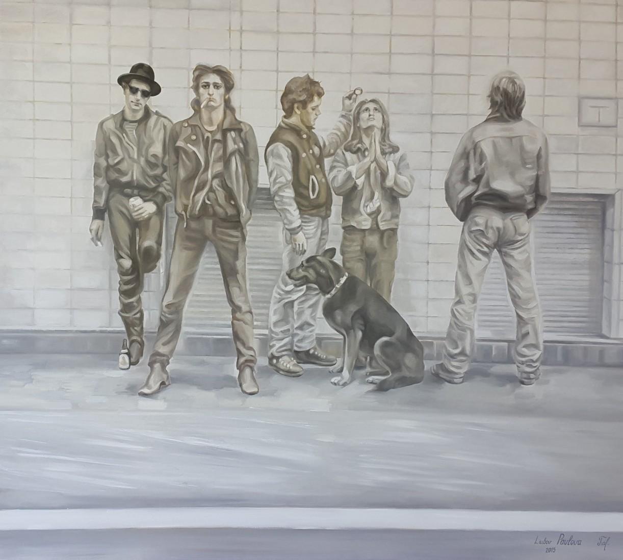 """Hinter der Linie, Öl auf Leinwand, 100x90 cm (Motiv aus dem Film """"FÜNF BIER UND EIN KAFFEE"""" von Rudolf Steiner)"""