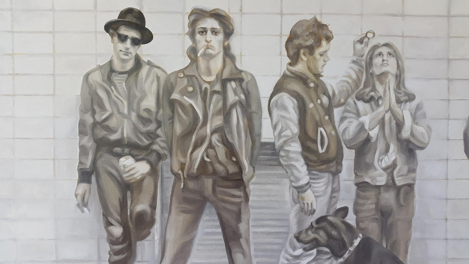 """Hinter der Linie (Ausschnitt des Bildes nach dem Motiv aus dem Film """"FÜNF BIER UND EIN KAFFEE"""" von Rudolf Steiner)"""