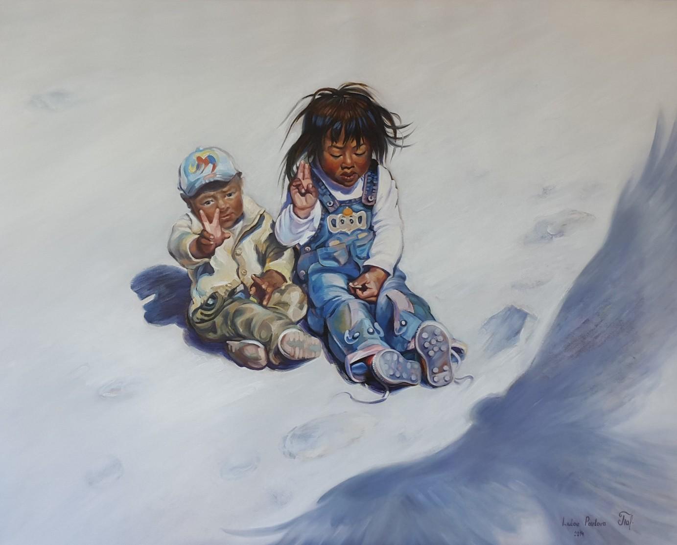 Kinder Tibets, Öl auf Leinwand, 100x90 cm