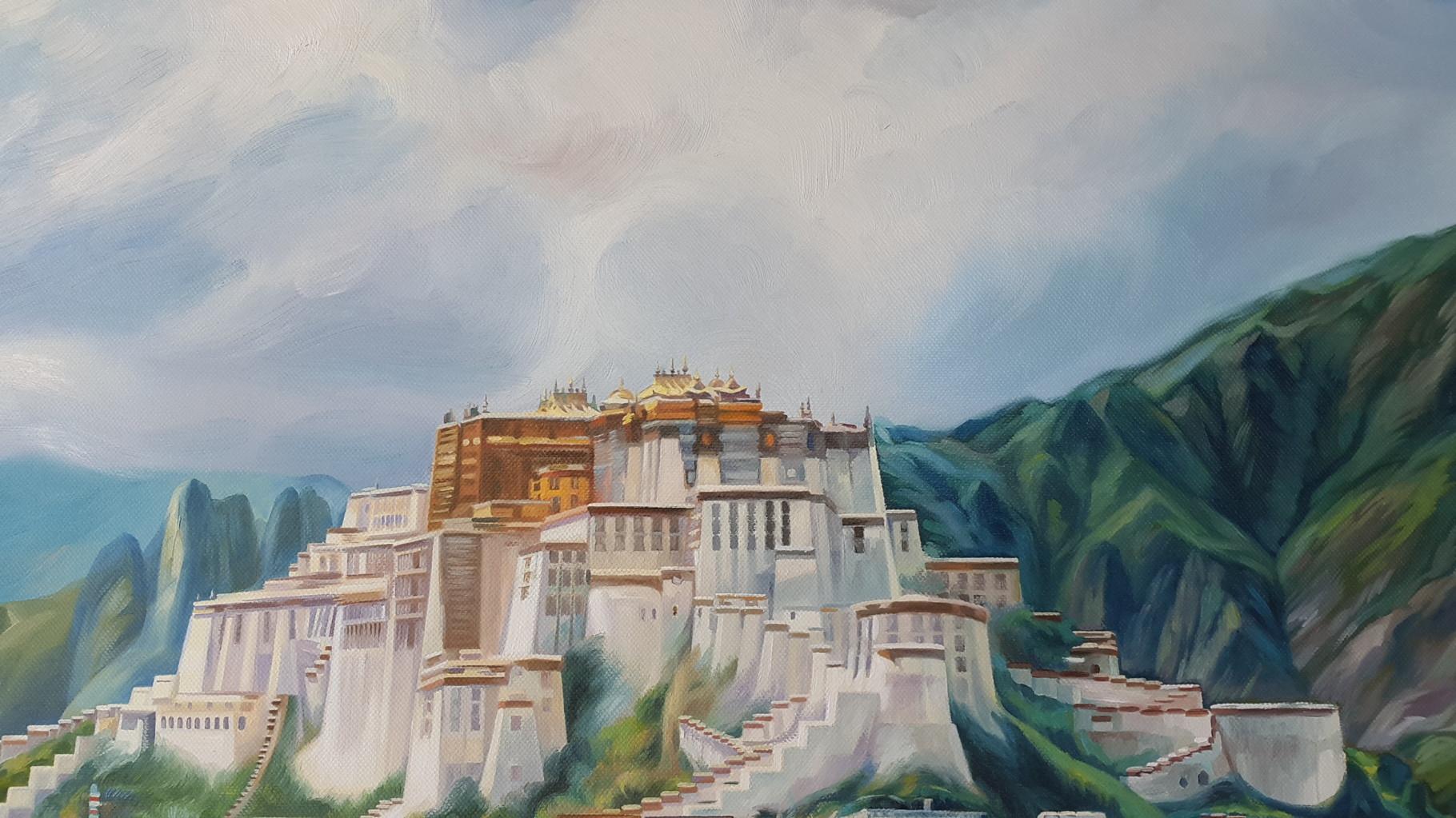 Potala-Palast (Ausschnitt), Öl auf Leinwand, 100 x 90 cm