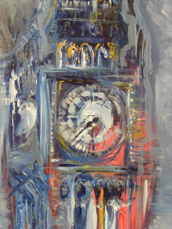 "Wonder What the Time is in London I. 10"" x 20""."