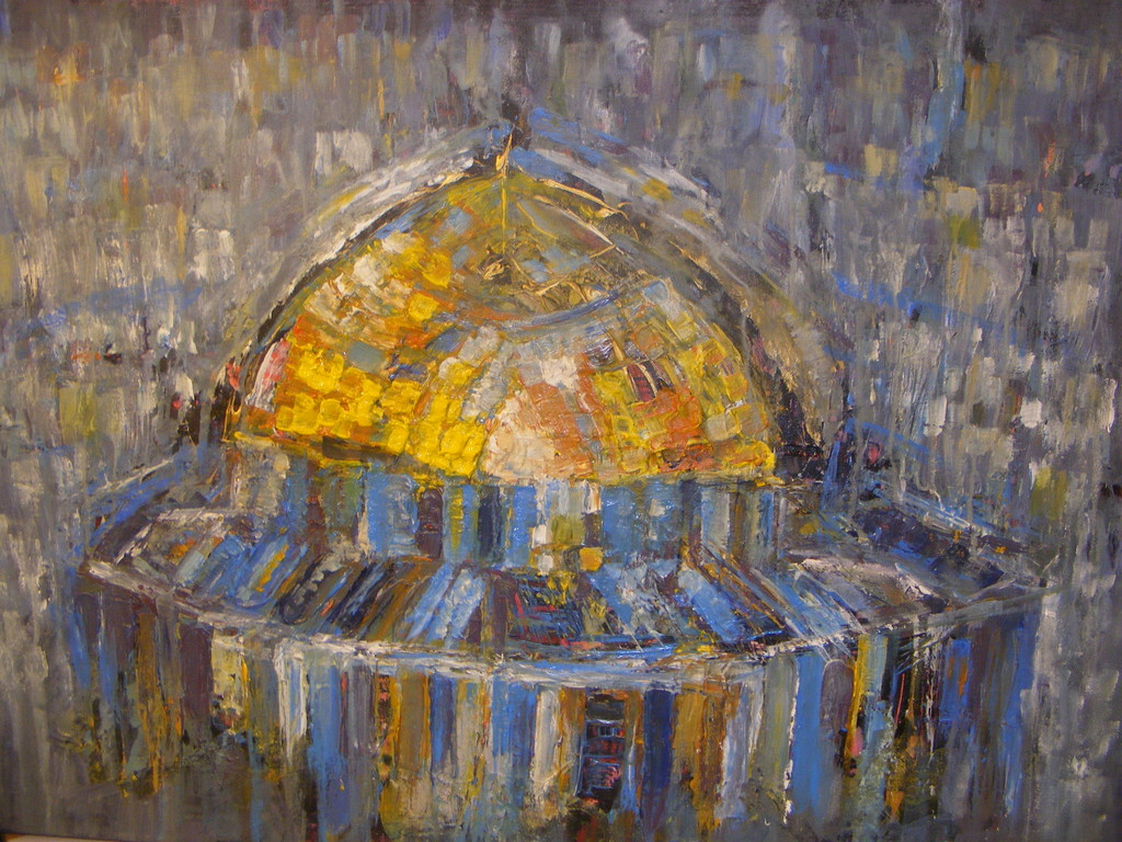 """Crying Dome I"", 30"" by 20"". A range of techniques have been used to produce the final composition, with the paint given freedom to create its own movements and paths in some areas; an elusive freedom denied to many of humanity. No longer available."