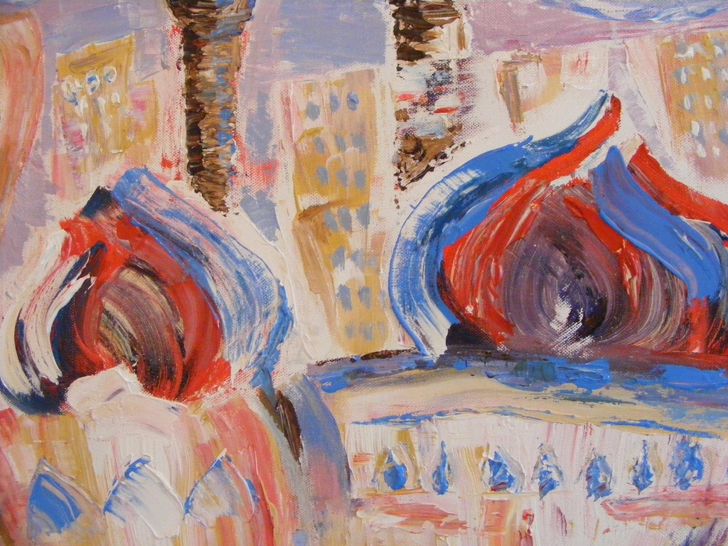 """City of Domes"" (close up) builds on the theme of movement and energy, focusing on the relevance with Domes and Arches in Islamic Architecture. Sudden, bold strokes have been used to give the Domes shape, to capture energy when applying the paint."