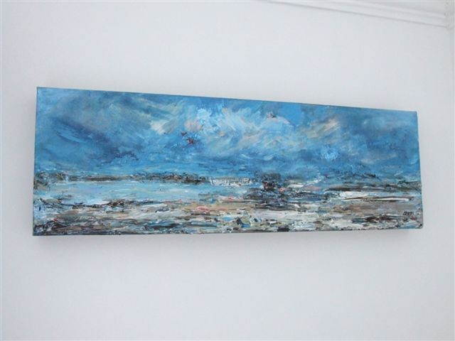 "Seascape. 10"" x 20"". Mixed Media. No longer available."