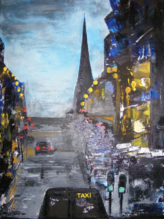 "Taxi on Bath Street. 10"" x 12"". Acrylic on Canvas."
