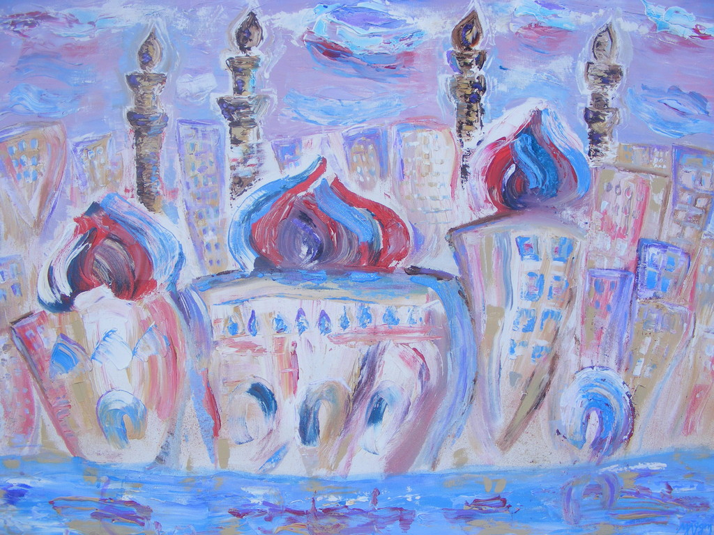 "City of Domes, 40"" x 50"" Acrylic on Canvas."