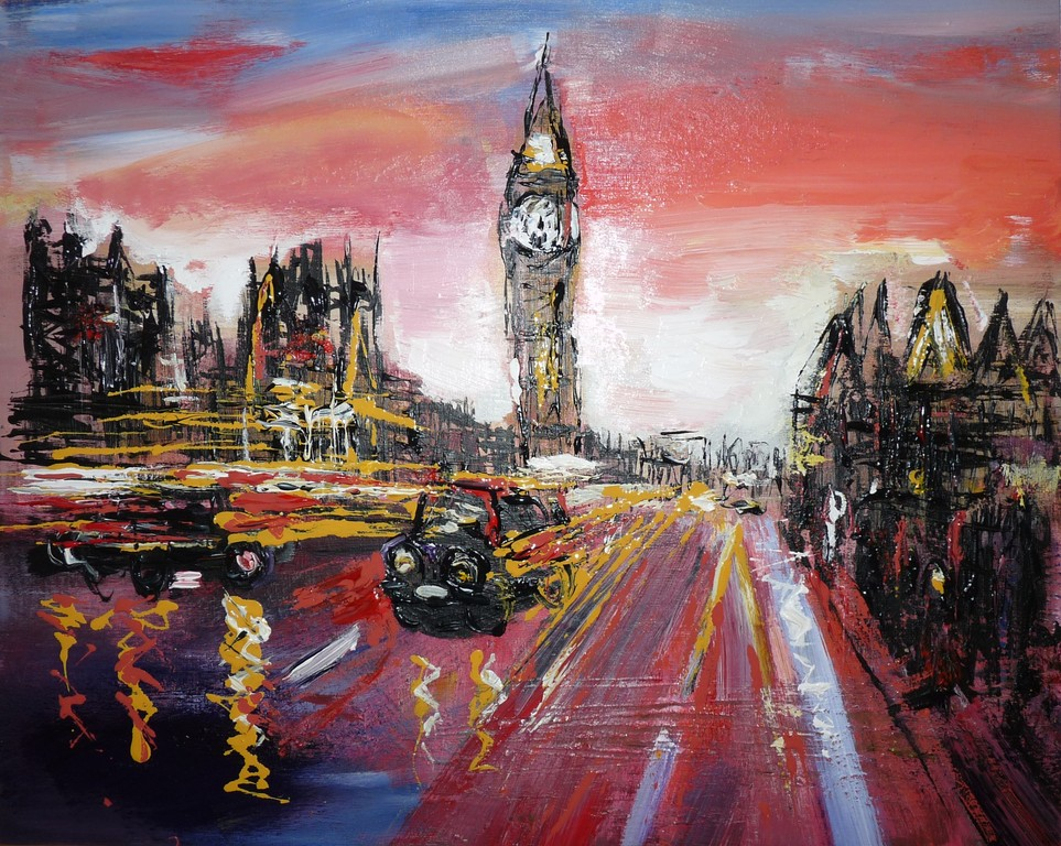 "London after Kenton. 16"" x 20"". Inspired by Kenton, special gift for a cousin who saw the image and wanted something similar."
