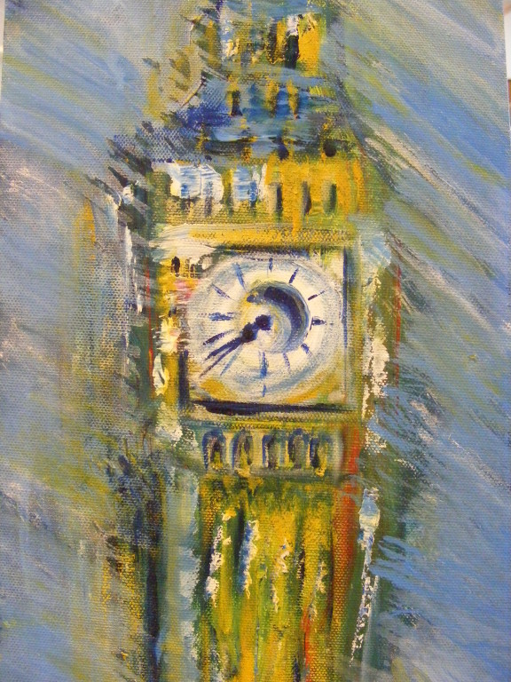 "Wonder What the Time is in London II. 10"" x 20"". No longer available."