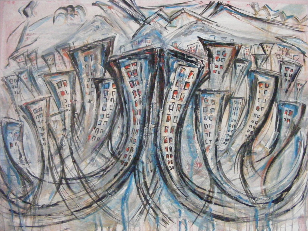 "City Overlooking the Mountains, 30"" x 40"". No longer available."