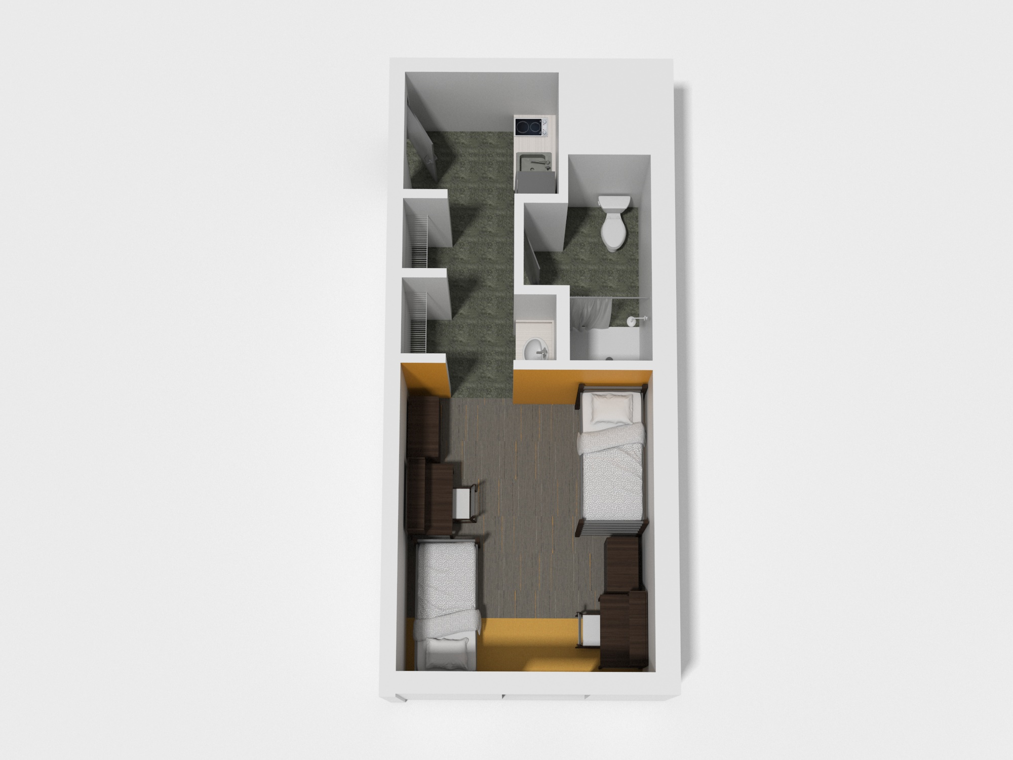 Double Room/Super Single w/Kitchenette - Approximately 430 sq/ft