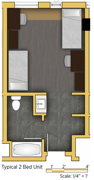Double Room/Super Single - Approximately 355 sq/ft