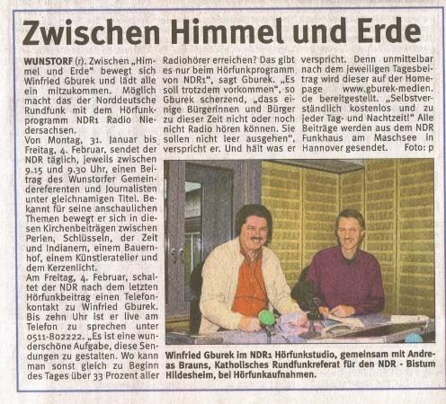"""Der """"Wunstorfer Stadtanzeiger"""", 27. Januar 2011"""