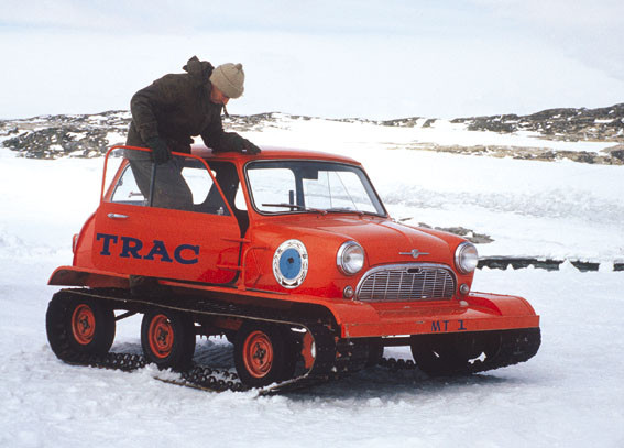 Modified Mini at Wilkes station in Antarctica in 1965