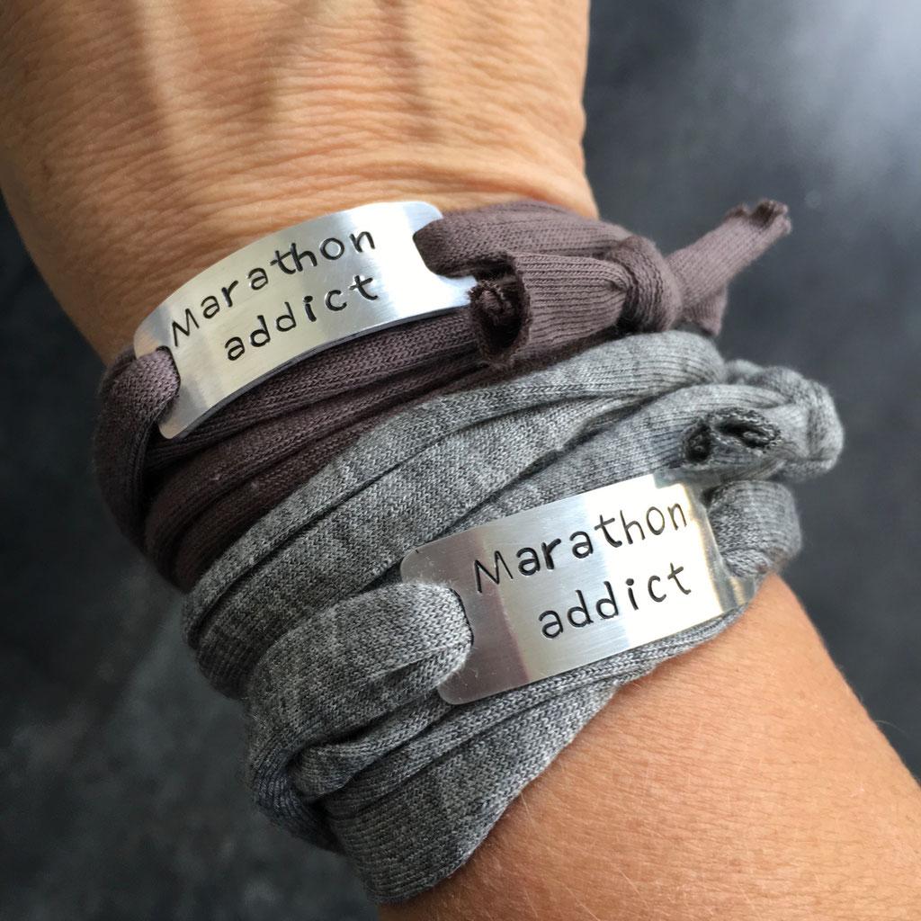 Bracelet sport plaque metal gravé motivation running marathon fait main made in France addict run