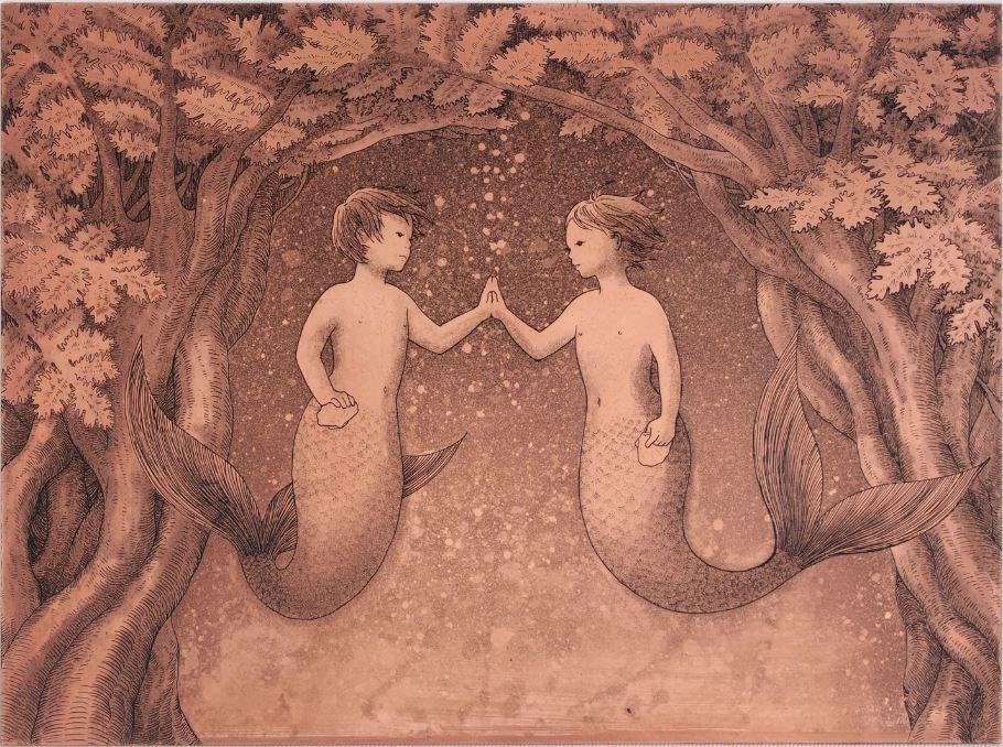 「ひみつのいりぐちⅡ」  腐蝕銅レリーフ 15×20 cm