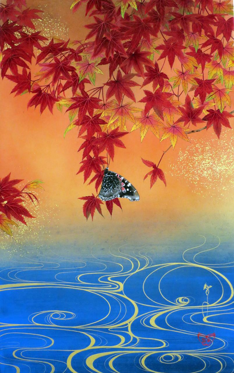 「楓流水図」 雲肌麻紙・岩絵具・金泥・金箔 M10 237,600円(税込)