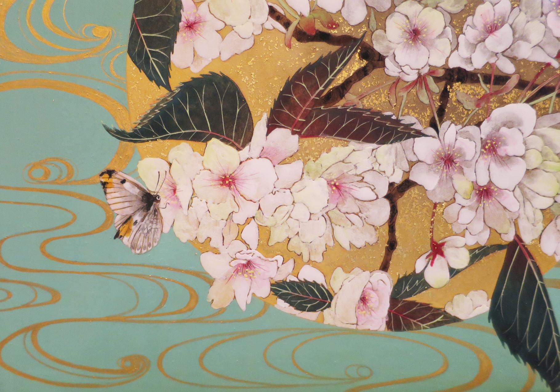 「鬱金桜」 雲肌麻紙・岩絵具・金泥・金箔 SM 70,200円(税込)