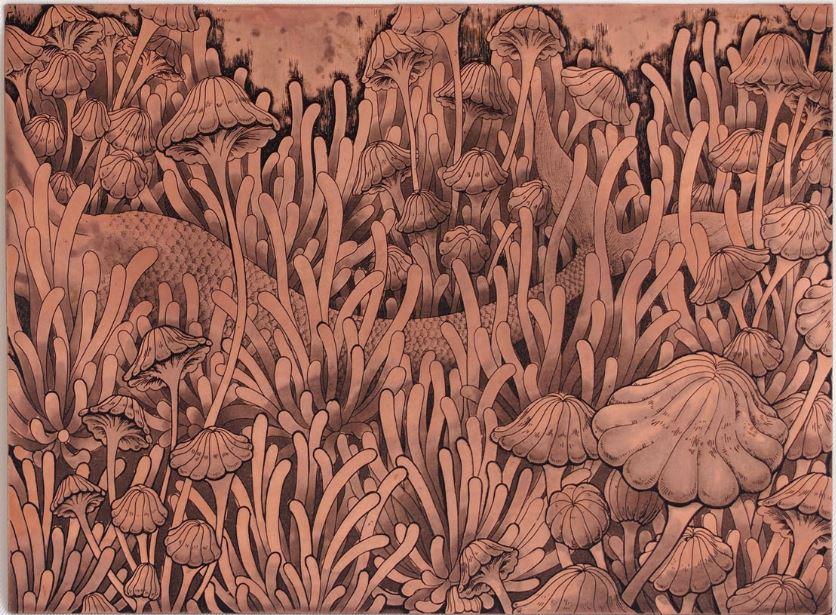 「奇妙なかくれんぼ」  腐蝕銅レリーフ 15×20 cm  198,000円