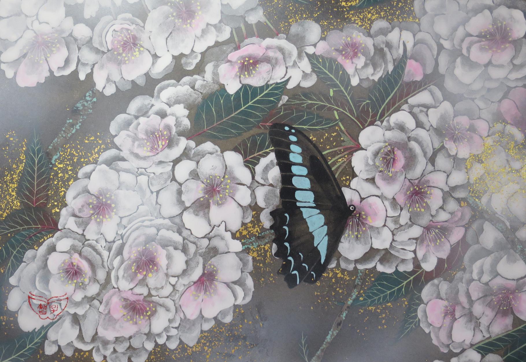 「一葉桜」 雲肌麻紙・岩絵具・金泥・金箔 SM 70,200円(税込)