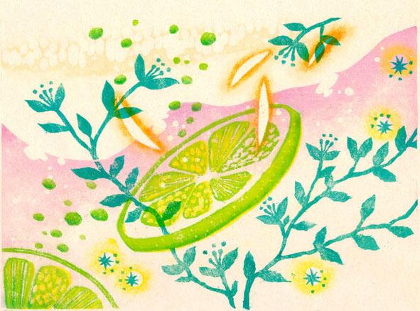 「春のゆらぎ」 木版画 180x250mm